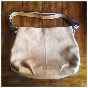 COACH tan leather shoulder purse